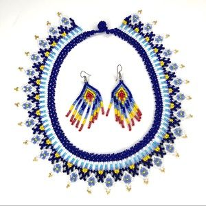 Handmade UNIQUE Colombian Beaded Blue Necklace